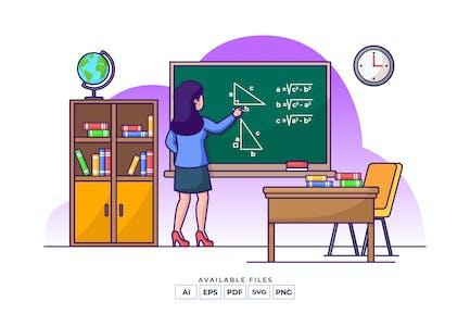 Mathematics Teacher Illustration