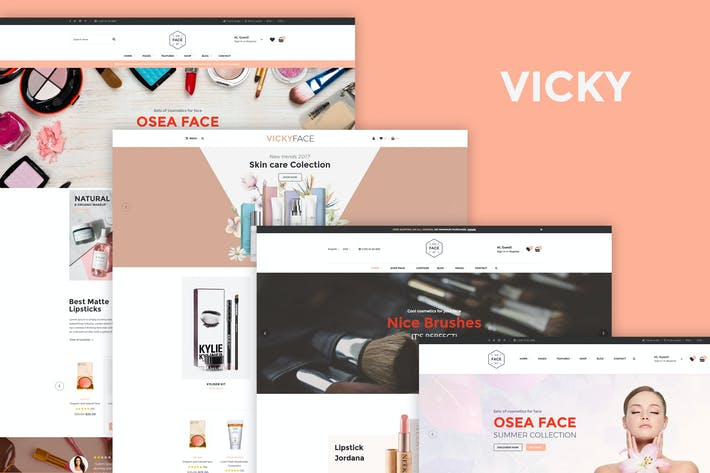 Thumbnail for VickyFace - Cosmetic eCommerce PSD Template
