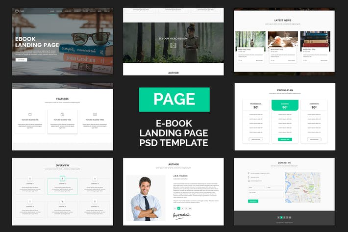 Thumbnail for Page - eBook Selling Landing Page PSD Template