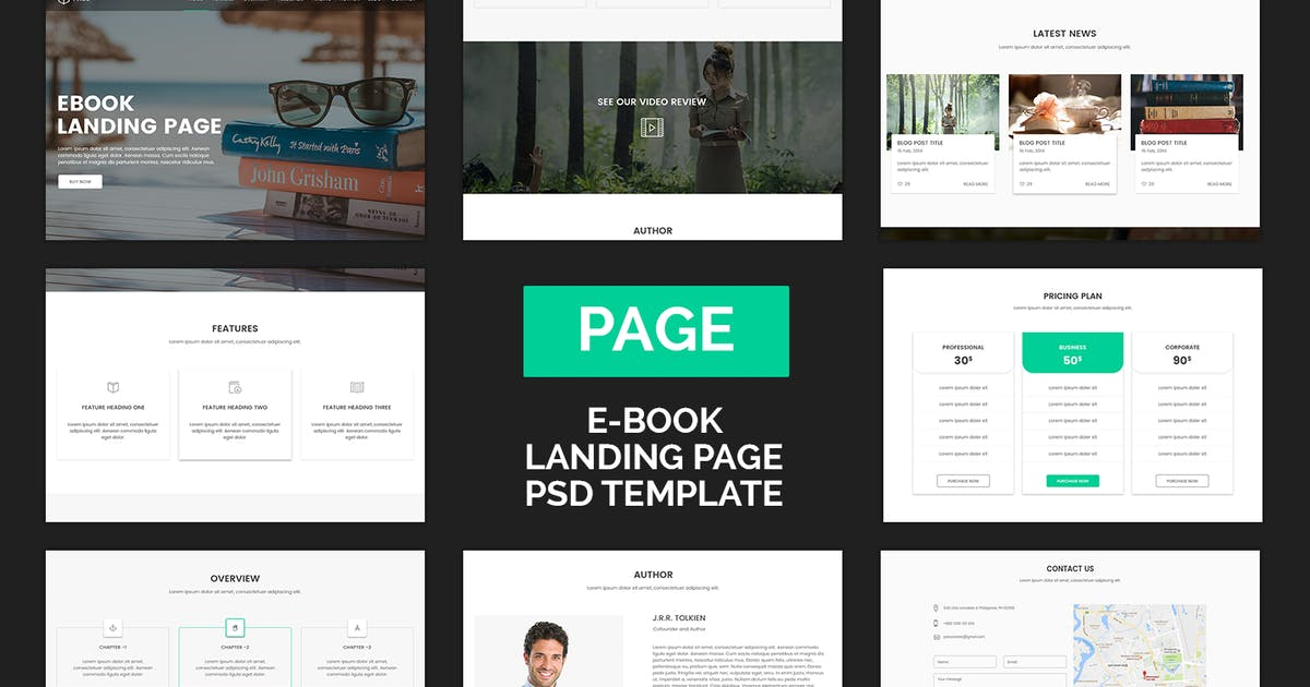 Download Page - eBook Selling Landing Page PSD Template by Muse-Master