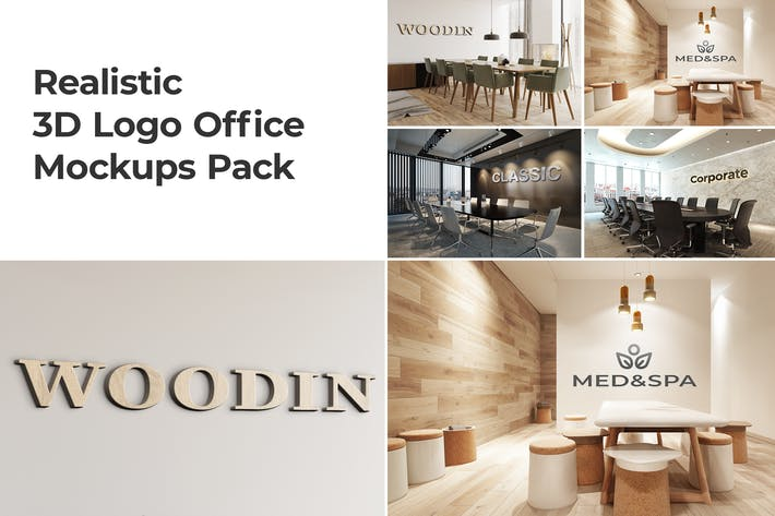 Thumbnail for 3D Logo Office Mockups Pack vol.2