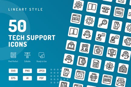 Tech Support Line Icons