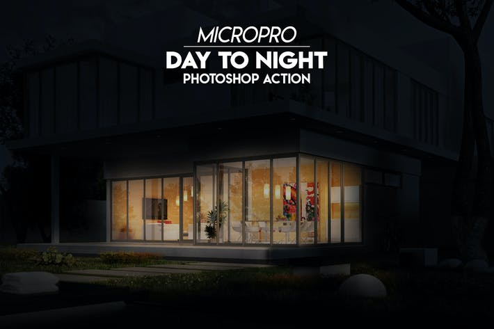 Cover Image For MicroPro Day to Night Photoshop Action