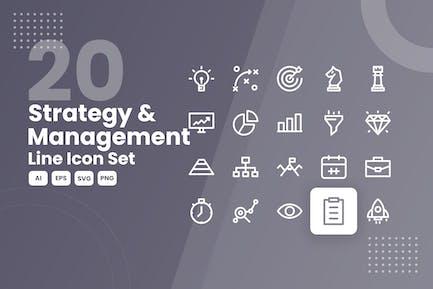 20 Strategy & Management Line Icon Set