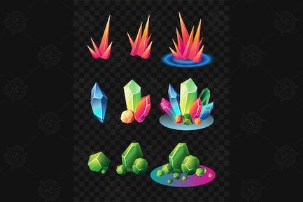 Crystals - realistic vector set of minerals