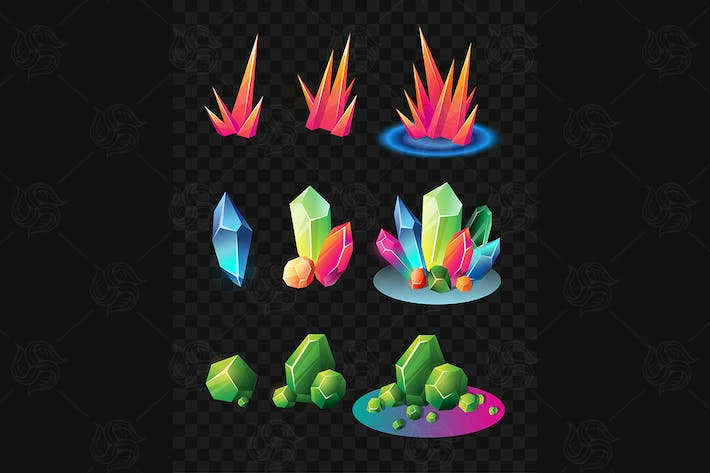 Thumbnail for Crystals - realistic vector set of minerals
