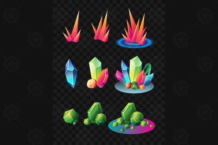 Kristalle - realistische Vektor -Set von Mineralien