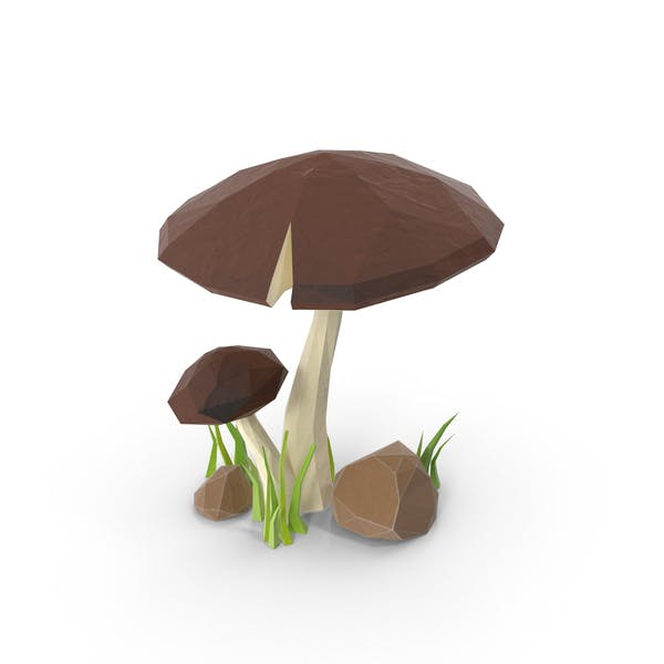 Low Poly Mushroom with Grass