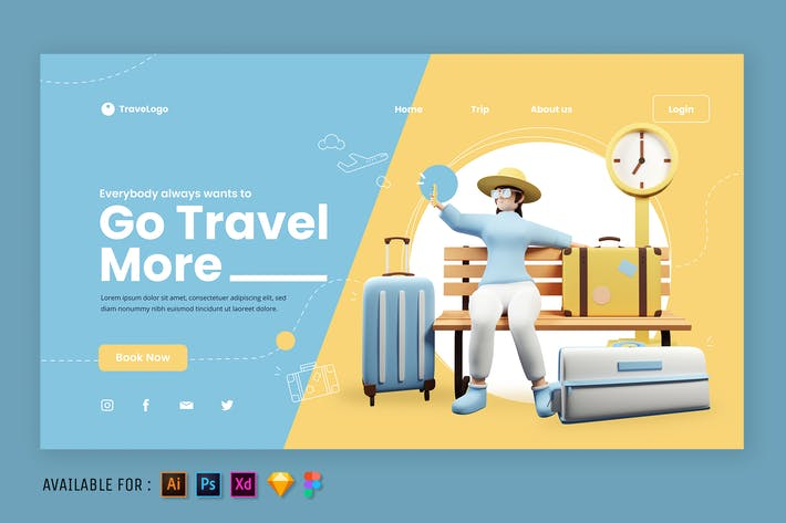 a Woman on Vacation - Web 3D Illustration