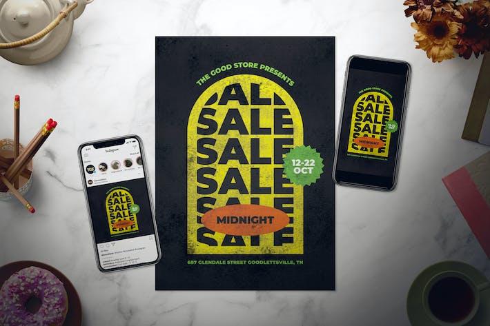Thumbnail for Retro Midnight Sale Flyer Set
