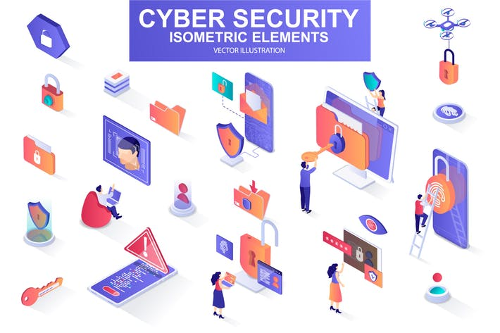 Cyber Security Isometric Design Elements