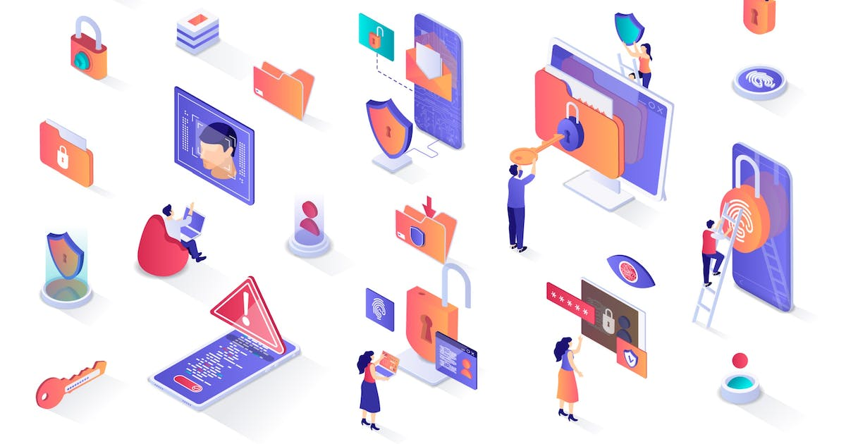 Download Cyber Security Isometric Design Elements by alexdndz