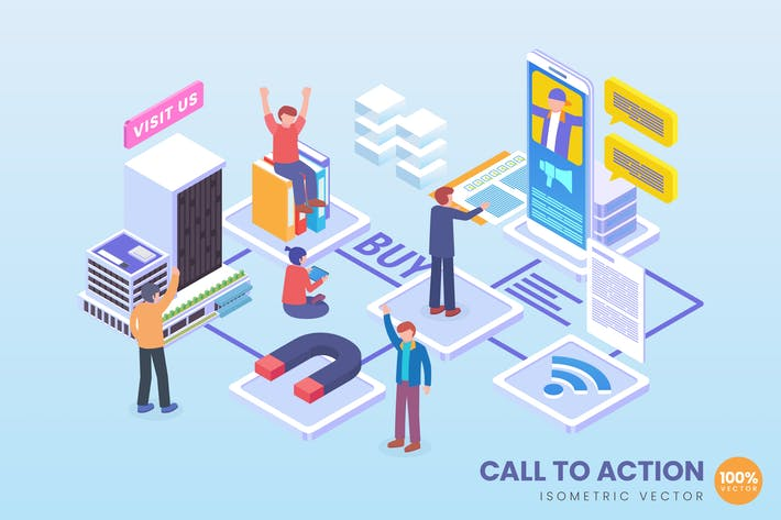 Thumbnail for Isometric Call To Action Technology Vector Concept