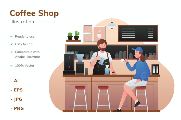 Thumbnail for Coffee Shop Illustration