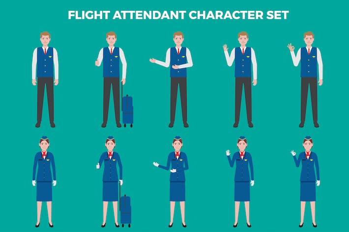 Набор символов стюардесса — иллюстрации