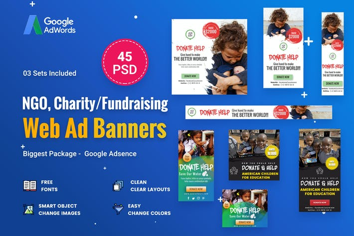 Thumbnail for NGO, Charity/Fundraising Banner Ads -  45 PSD