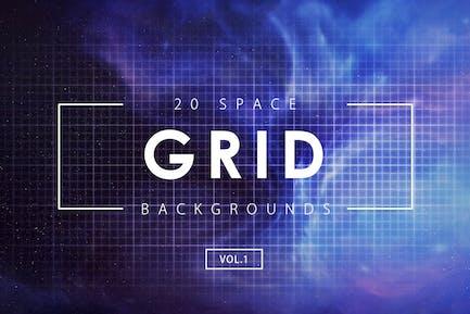20 Space Grid-Hintergründe Vol. 1