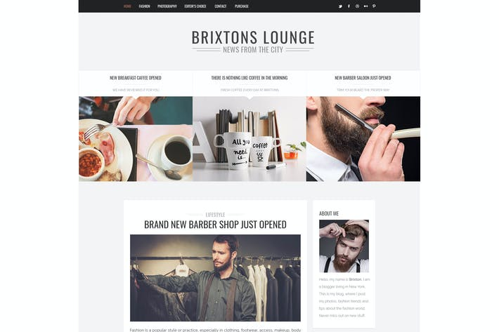 Thumbnail for Brixton - Minimal & Personal PSD Blog Template