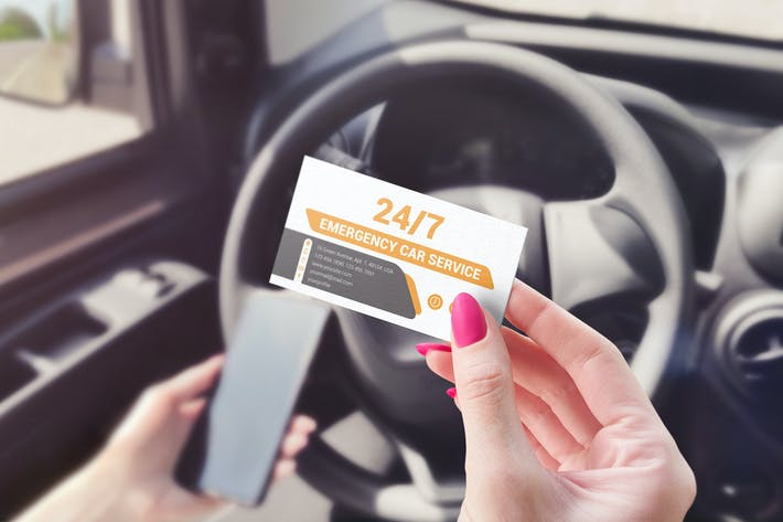 Thumbnail for Business Card Car Scene Mockup
