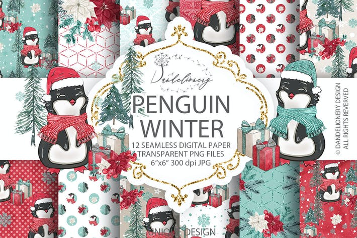 Thumbnail for Penguin Winter digital paper pack