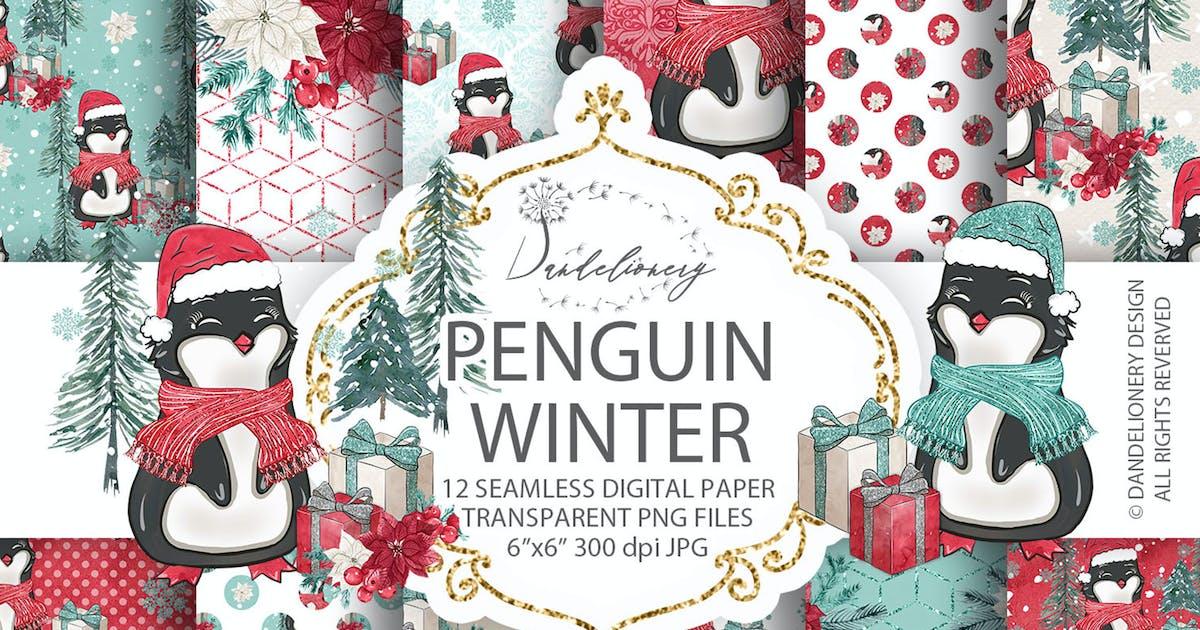 Download Penguin Winter digital paper pack by designloverstudio