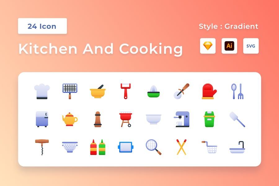 Küche Und Kochen Gradient Icon Set