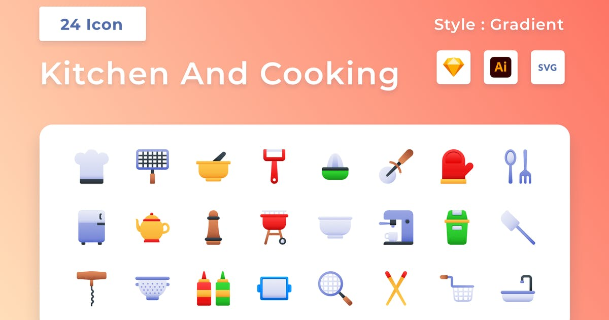 Download Kitchen And Cooking Gradient Icon Set by usedesignspace