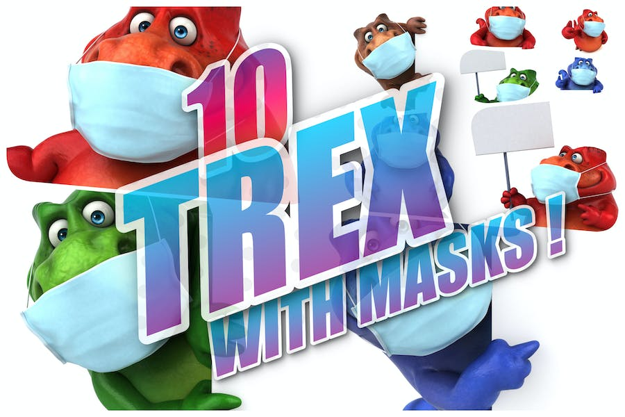 10 Trex with masks !