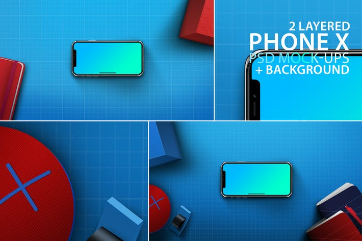 Thumbnail for Phone Mock-ups with Blue Background