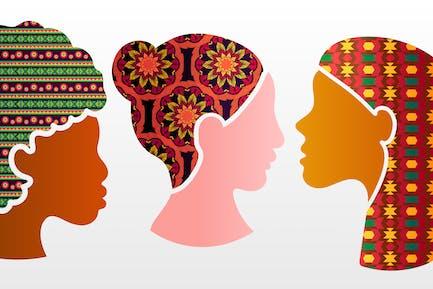 Diverse Ethnic Woman Motifs Set
