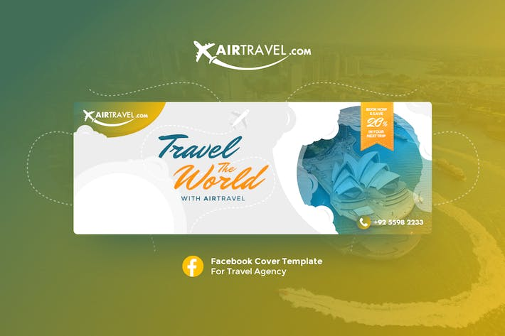 Thumbnail for AirTravel - Facebook Cover Template