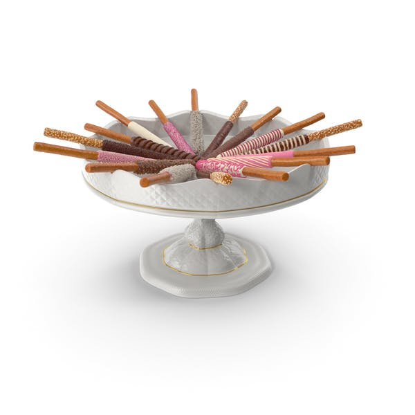 Fancy Porcelain Bowl with Assorted Dipped Pretzel Rods