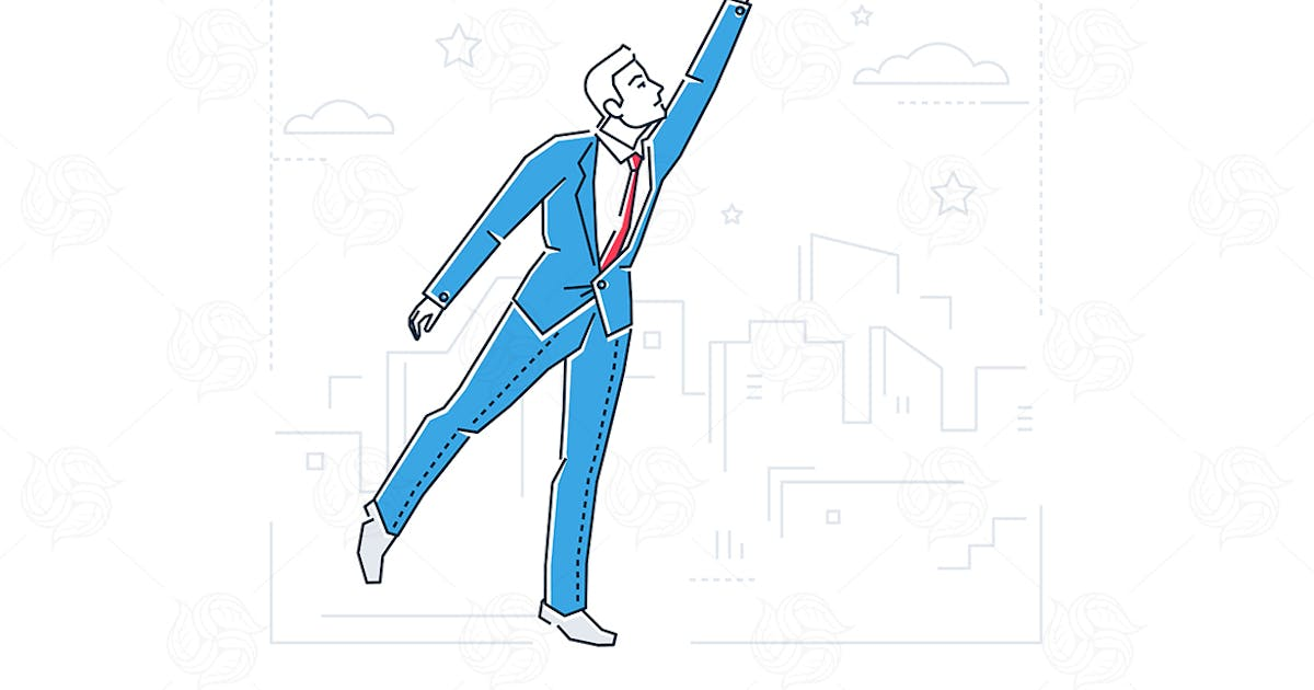 Goal achievement - line design style illustration by BoykoPictures