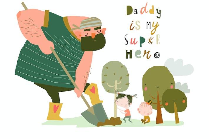 Vater pflanzt die Bäume mit seinen Kindern