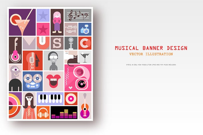 Thumbnail for Musical Collage Design vector illustration