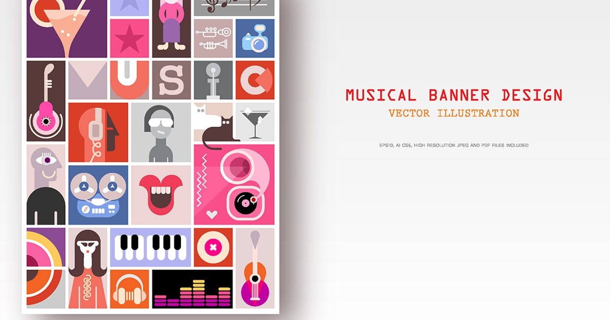 Download Musical Collage Design vector illustration by danjazzia