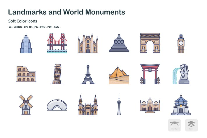 Thumbnail for Landmark and world monuments soft color icons