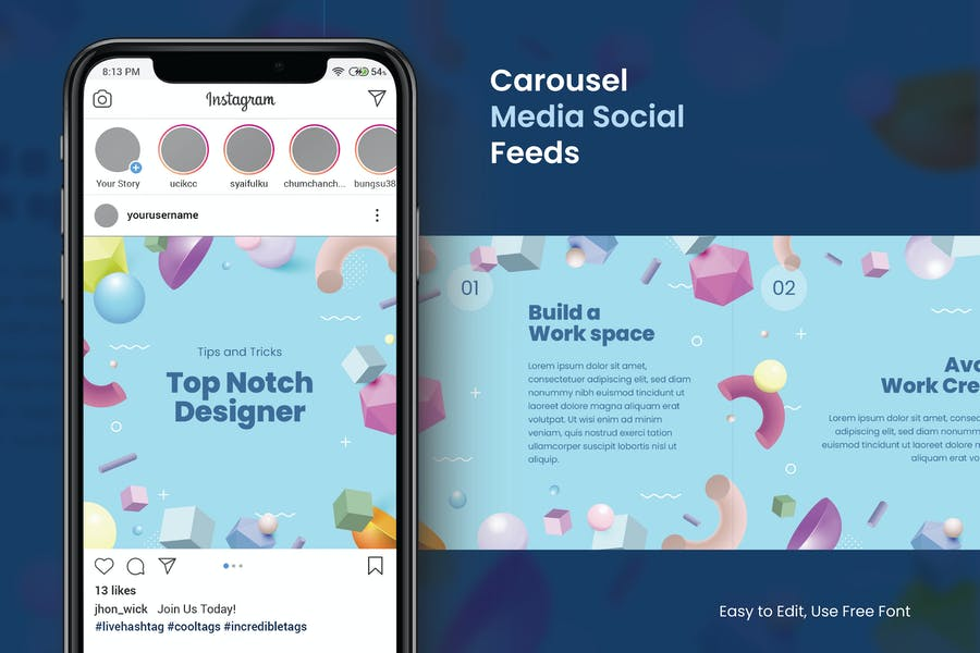 3D Shapes Pastel Color Instagram Carousel