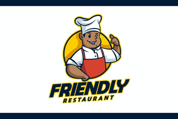 Thumbnail for Cartoon Friendly African American Chef Mascot Logo