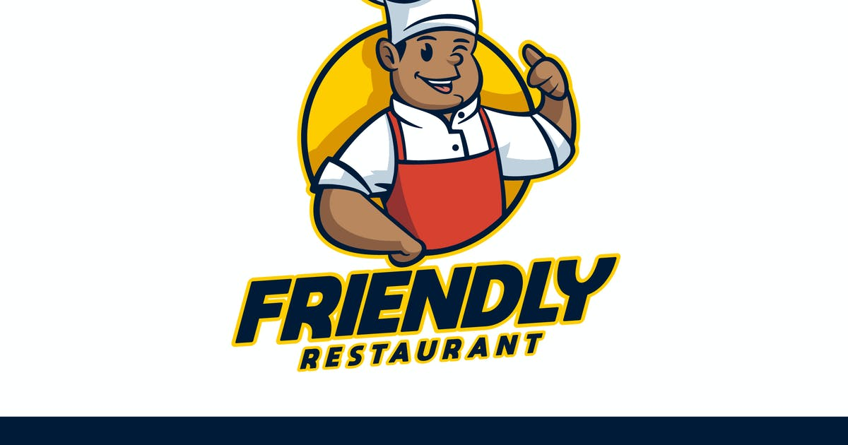 Download Cartoon Friendly African American Chef Mascot Logo by Suhandi