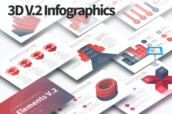 Thumbnail for 3D Elements V.2 - Keynote Infographics Slides