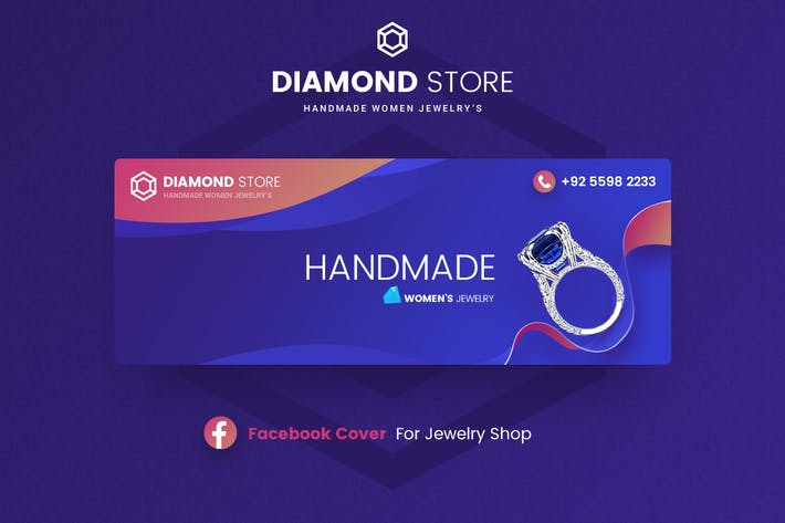 Thumbnail for Diamond - Jewelry Facebook Cover Template