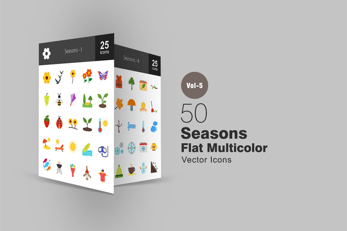 Thumbnail for 50 Seasons Flat Multicolor Icons