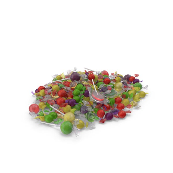 Pile of Mixed Wrapped Hard Candy