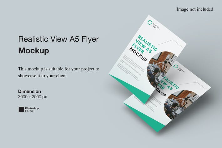 Realistic View A5 Flyer Mockup