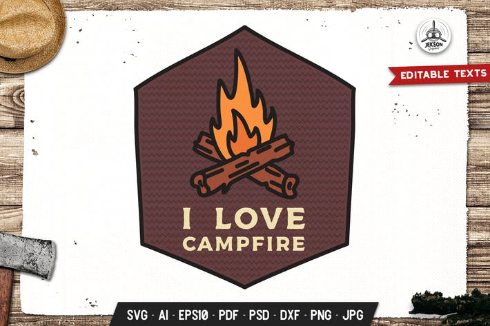 Love Campfire Abzeichen Vektor Adventure Retro Grafik