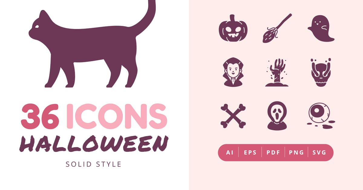 Download 36 Halloween Solid Style Icons Pack by Victoruler
