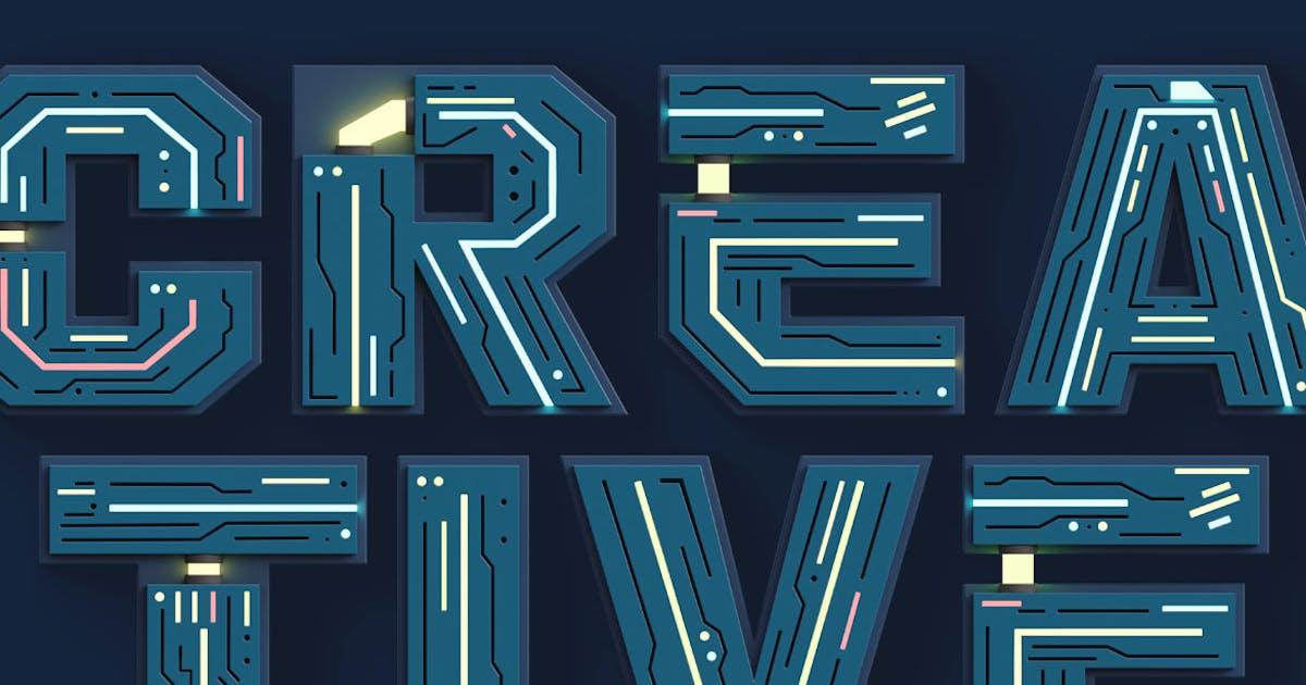 Download Futuristico - 3D Color SVG Font by cruzine