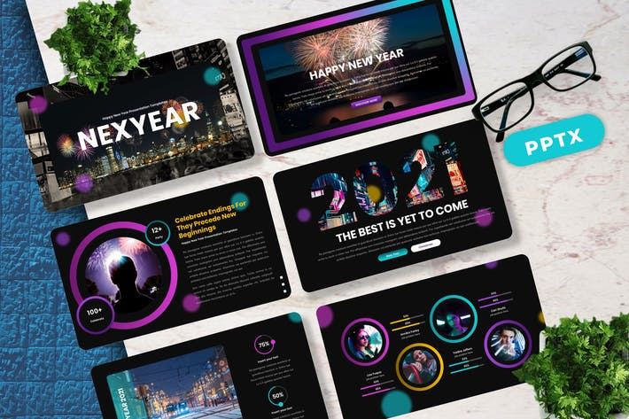Thumbnail for Nexyear - New Year Powerpoint Template