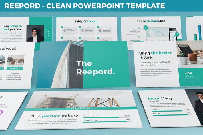 Thumbnail for Reepord - Clean Powerpoint Template